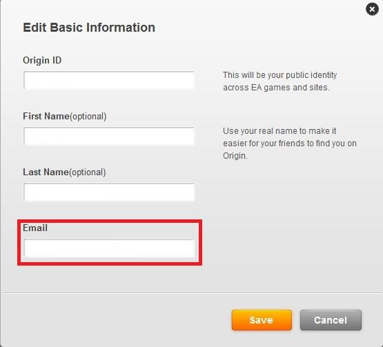 origin how to change email