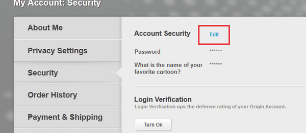 how to change email address for origin