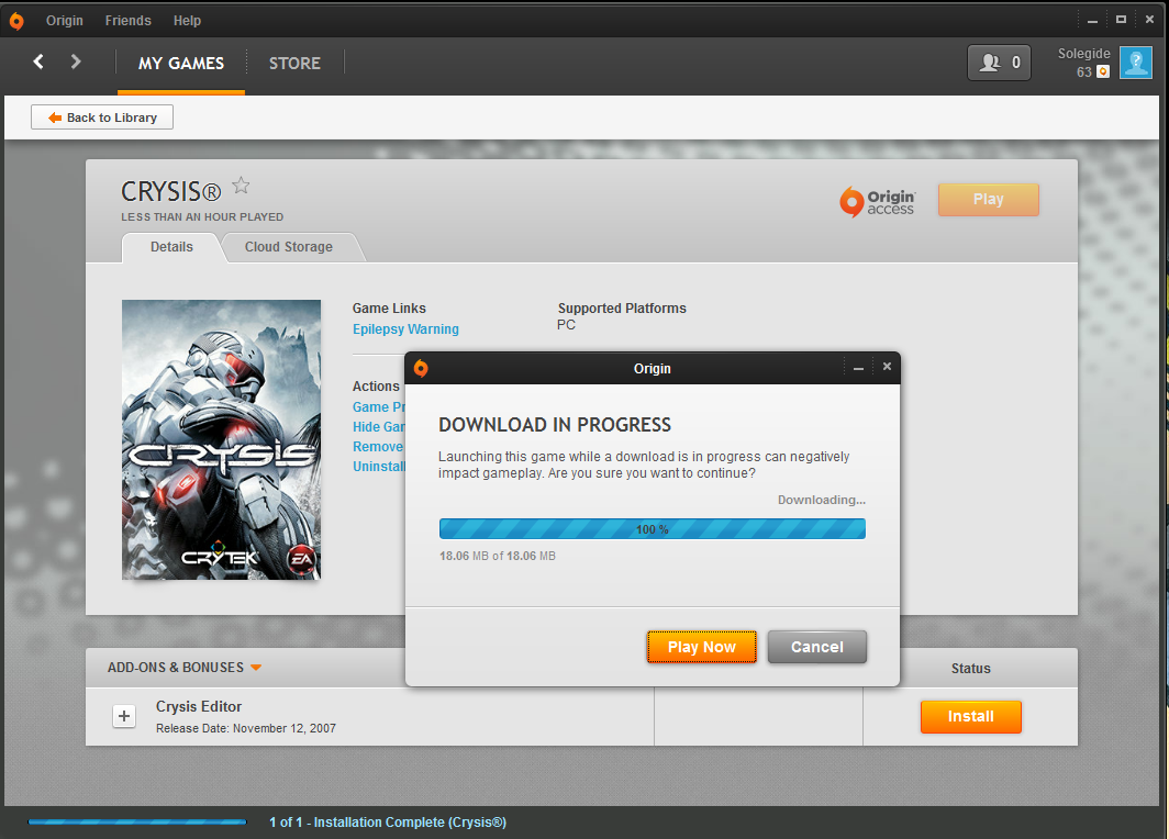 Solved: Crysis still downloading - Answer HQ