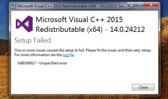 microsoft visual c++ redistributable 2017 setup failed
