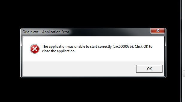 Origin - The application was unable to start correctly - 0xc000007b
