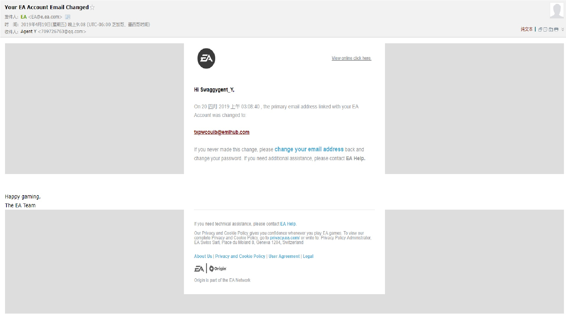 my EA Account Email Changed - Answer HQ