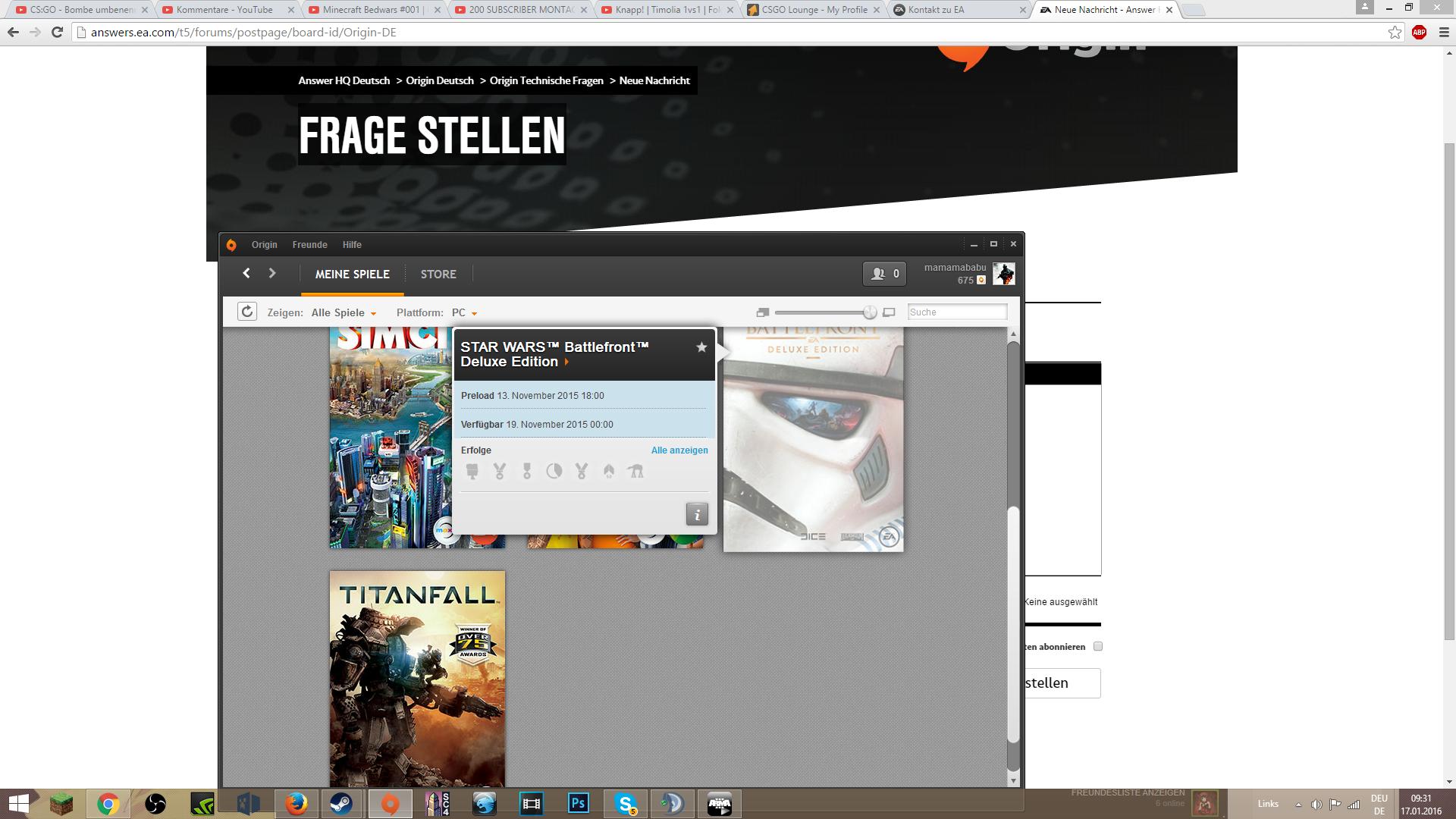 Battlefront Wird Nicht Freigeschalten In Originsteht Immer Noch Das - Youtube minecraft deutsch spielen