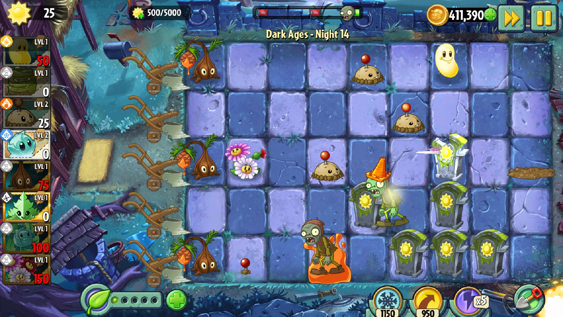 Level 1            Dark Ages     Night 14       collect 5000 SUN Dazey Chain, Sap Fling, dual Gravebuster PvZ2,.jpg