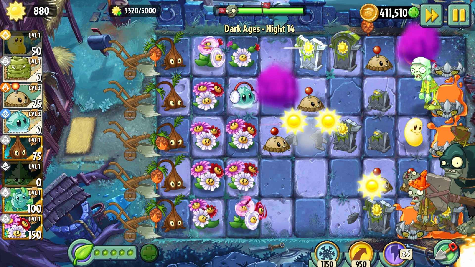 Level 1            Dark Ages     Night 14     almost complete        collect 5000 SUN Dazey Chain, Sap Fling, dual Gravebuster PvZ2,.jpg