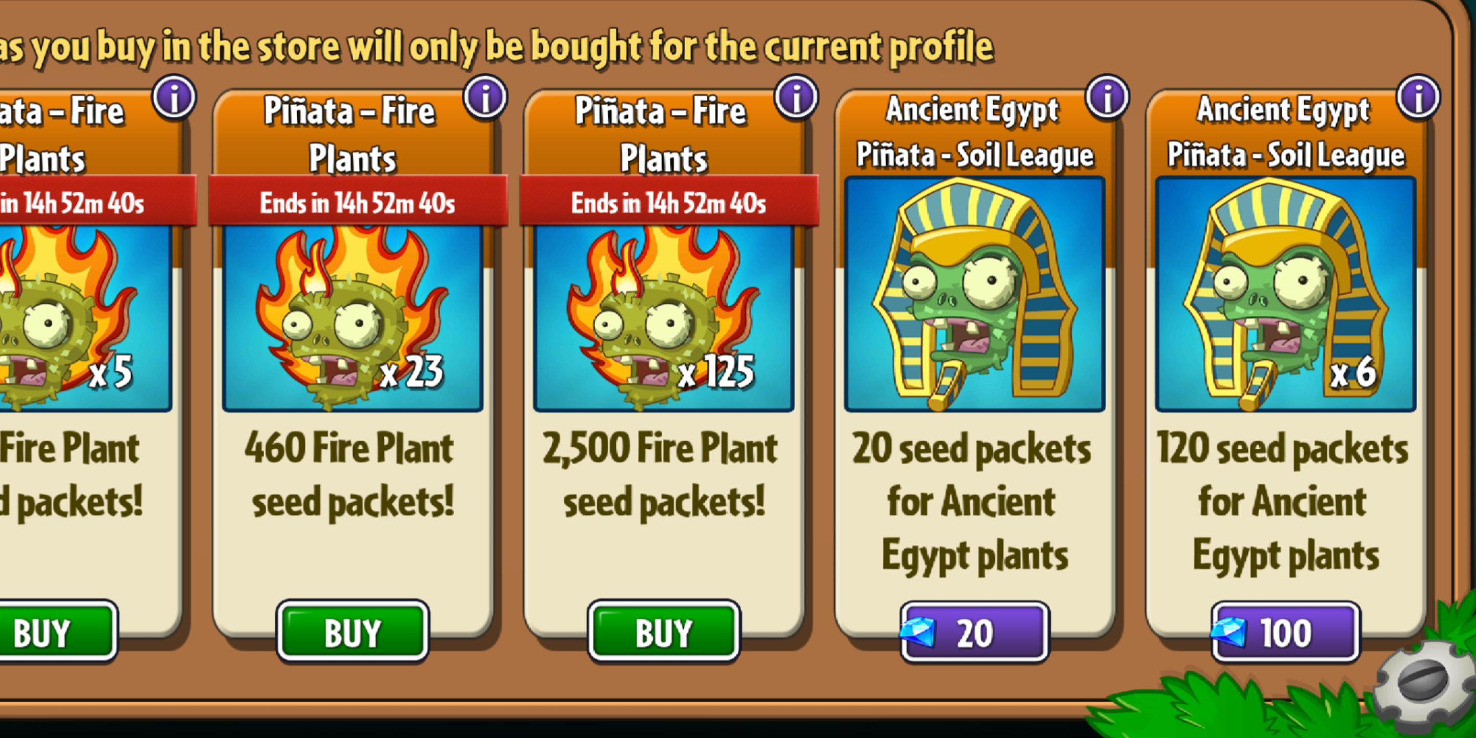 In PvZ2 the Piñata store shows Soil League piñatas after