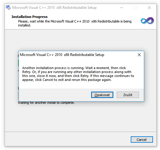 Solved: The VC++ runtime redistributable package error 1602/5100