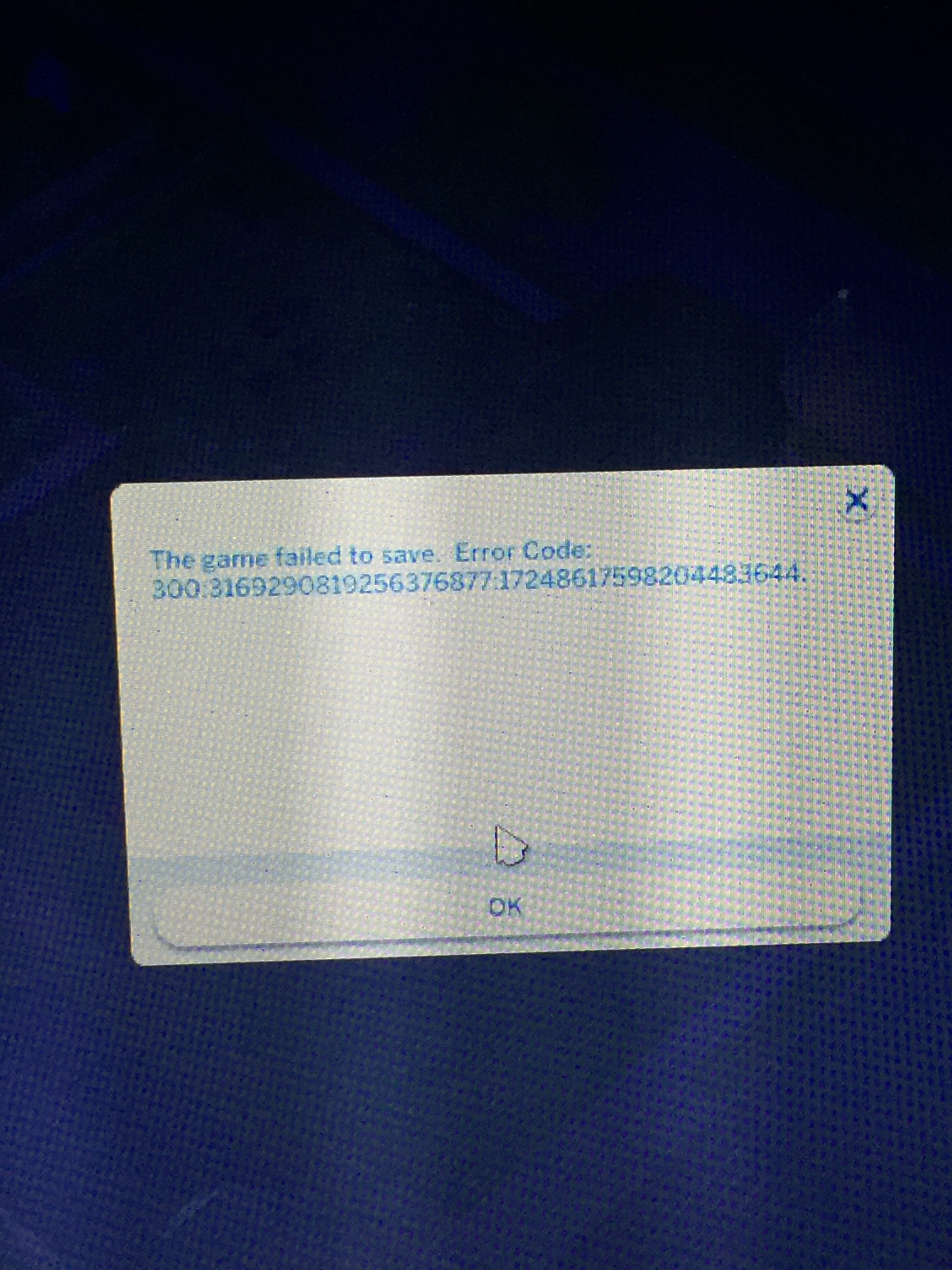 Can't save, error code 300 - Answer HQ