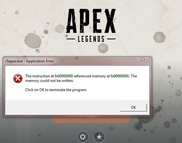 Apex Legends crashing without error or with referenced memory error
