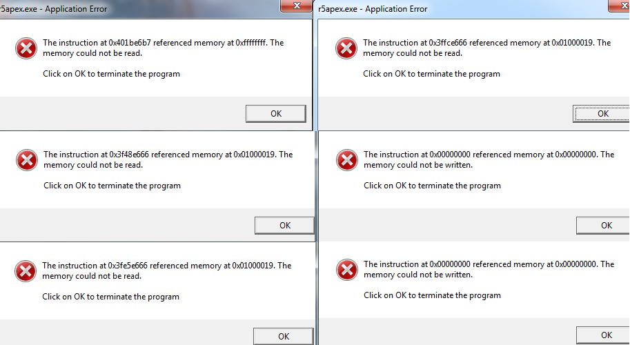 Apex Legends Instruction at * referenced memory at * Memory could
