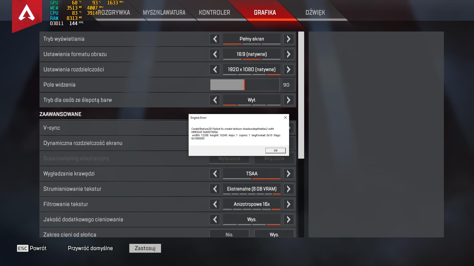 Solved: Engine Error: CreateTexture2D crash to desktop