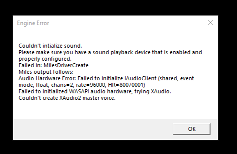 Couldn't Initialise sound, Not enough USB controller