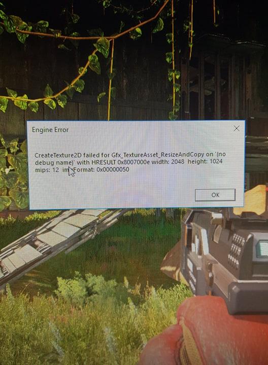 Apex Legends (engine error)CreateTexture2D failed for