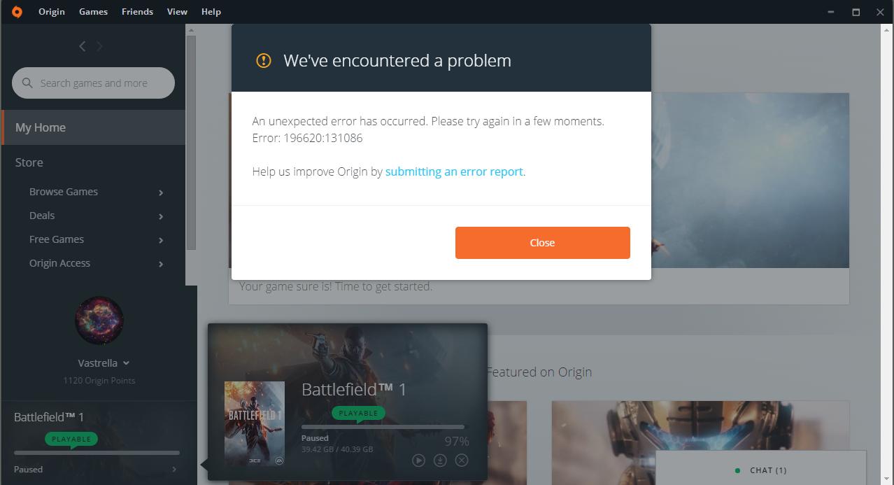 Solved: Battlefield 1 Stuck at %97 Error Code: 196620:131086
