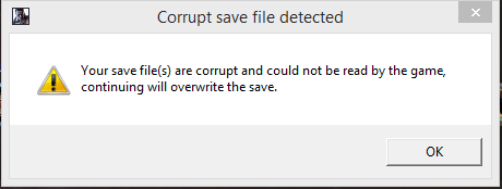corrupt save file detected in btf 1 - Answer HQ