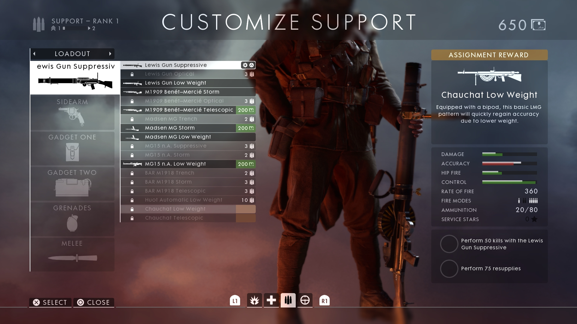 support service assignment battlefield 1