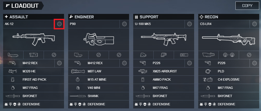 how to change loadout bf 4