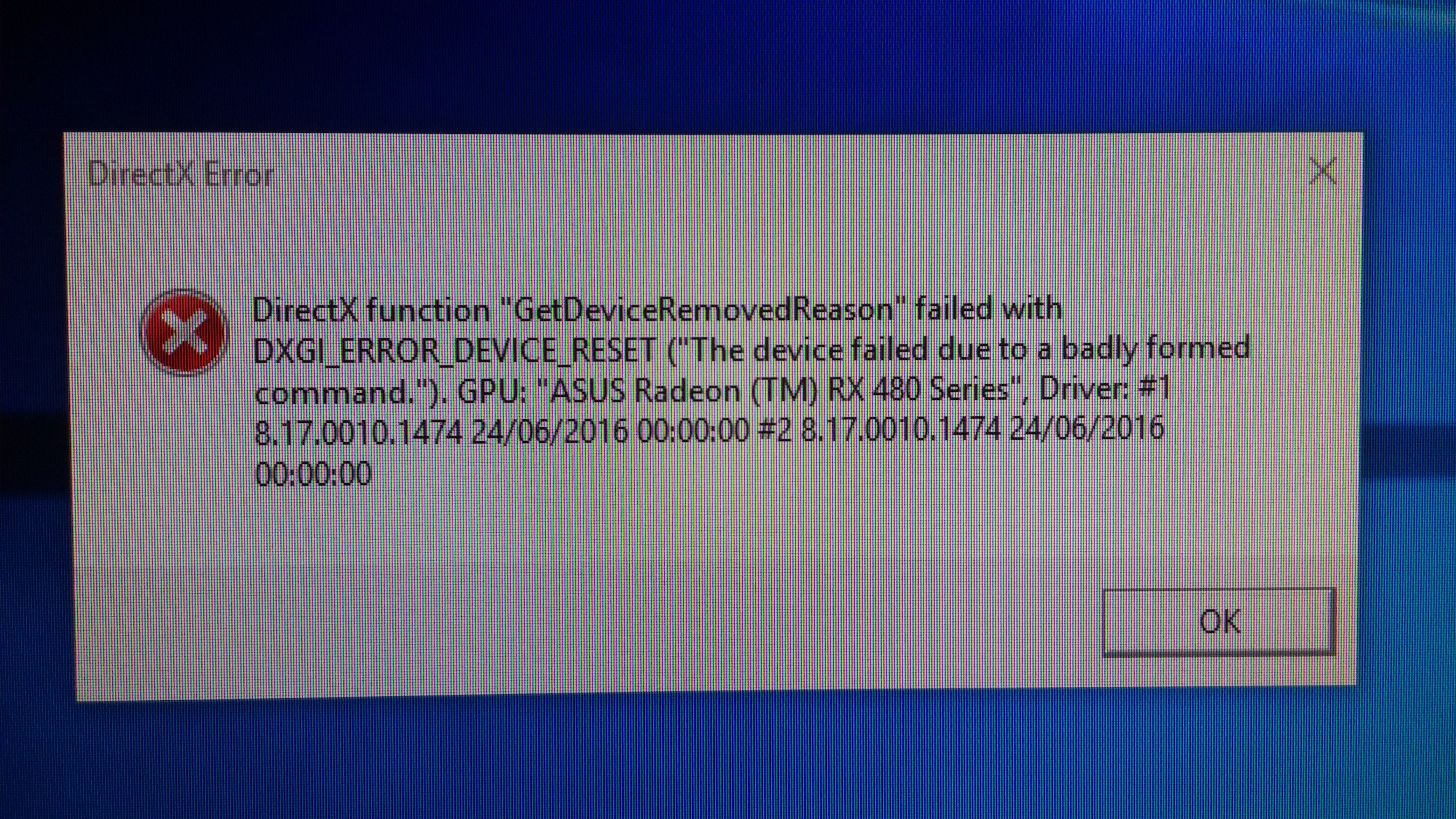 Solved: directx function get device removed reason failed with