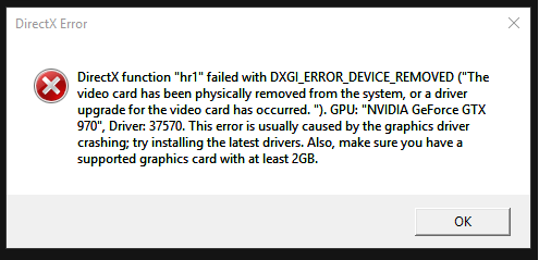 Dxgi error device removed on game launch repeatedly - Answer HQ
