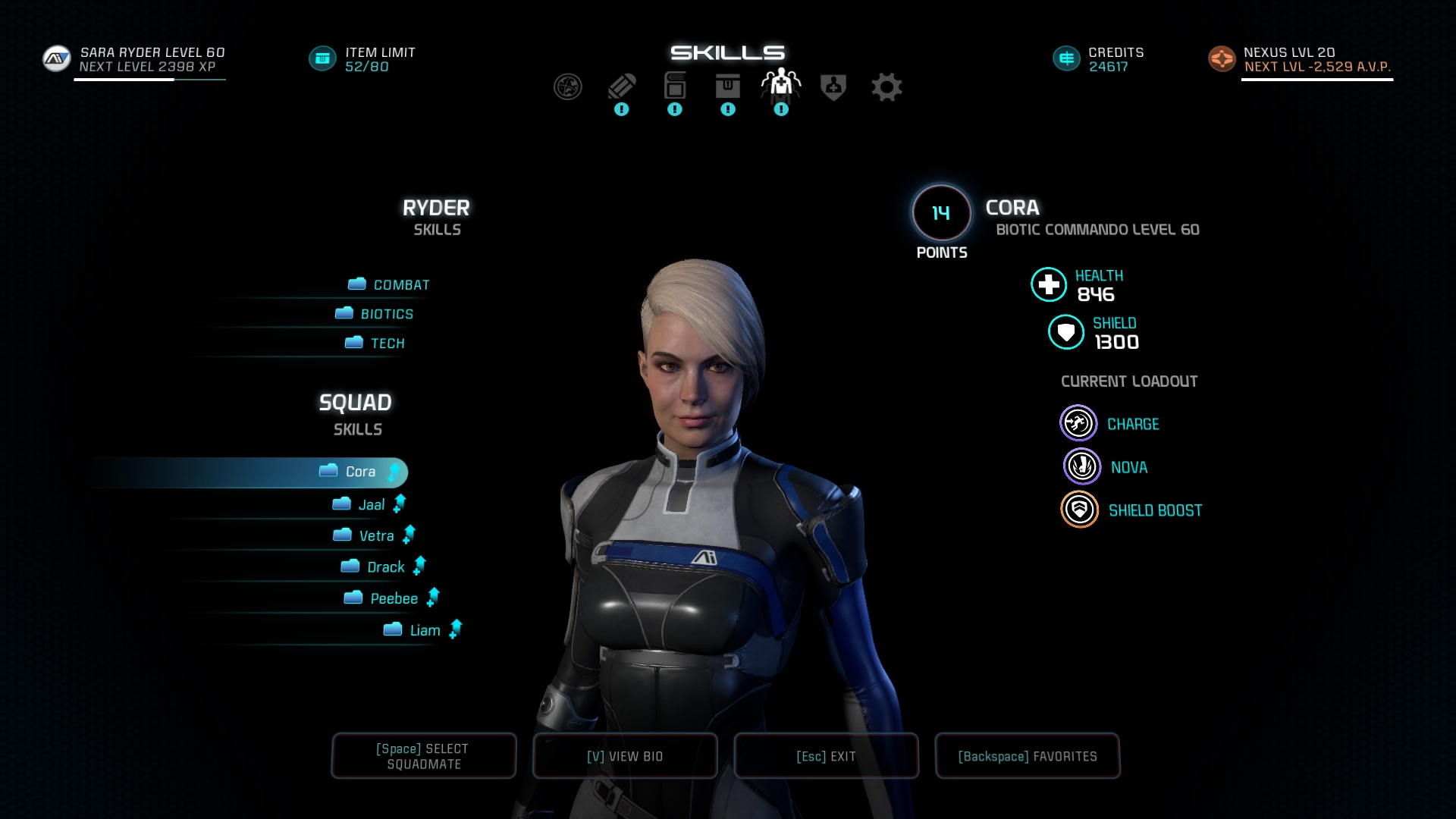Re: Massive difference in health and Shields between Ryder and squadmates -  Answer HQ