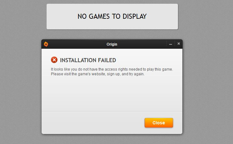origin is not installed and is required to play the game