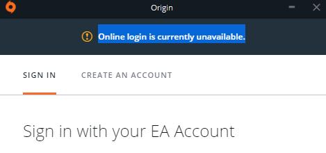 Online Login Is Currently Unavailable Origin