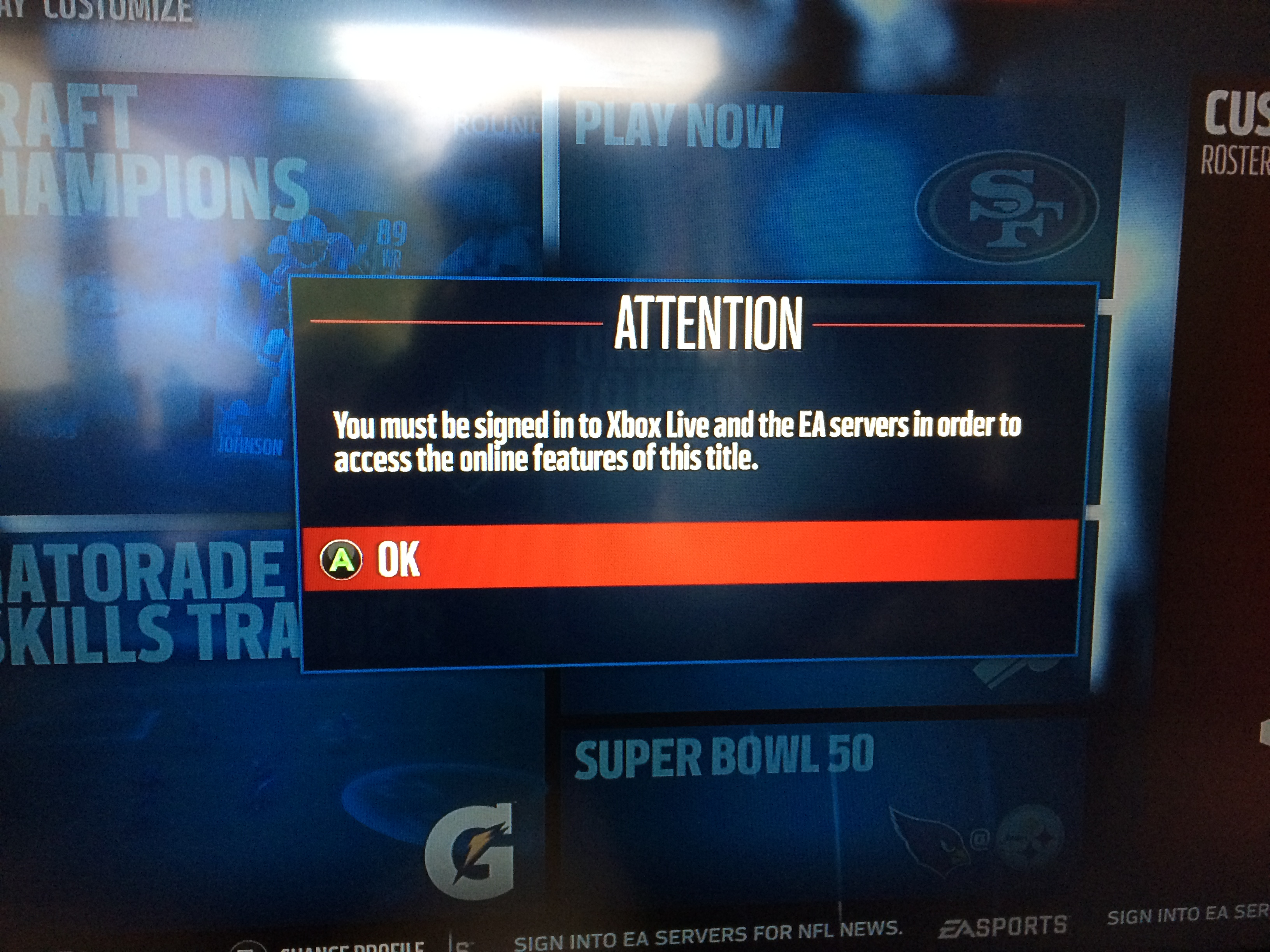 Solved: You must be signed into to Xbox Live and the EA servers to
