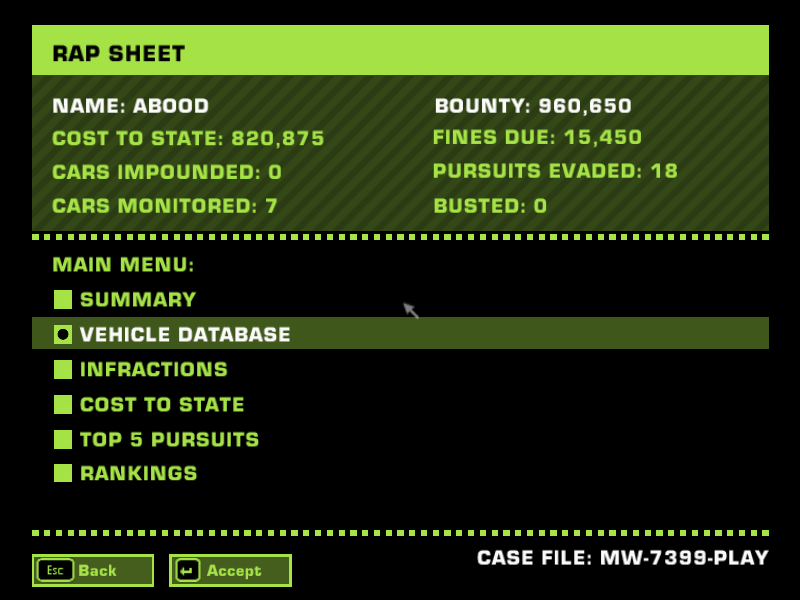 Is There a corrupt in my save game in NFSMW PC (2005