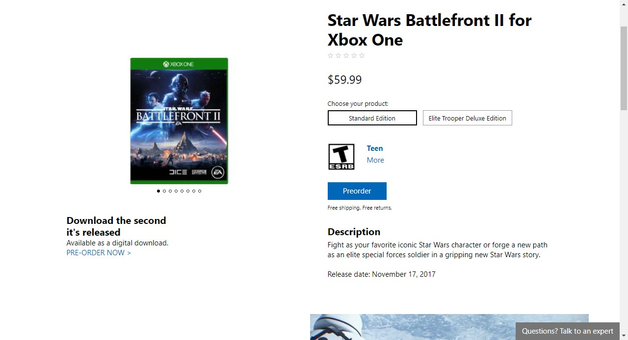 7531a7c54 Am I getting Battlefront 2 Pre Order Bonus on Microsoft Store ...