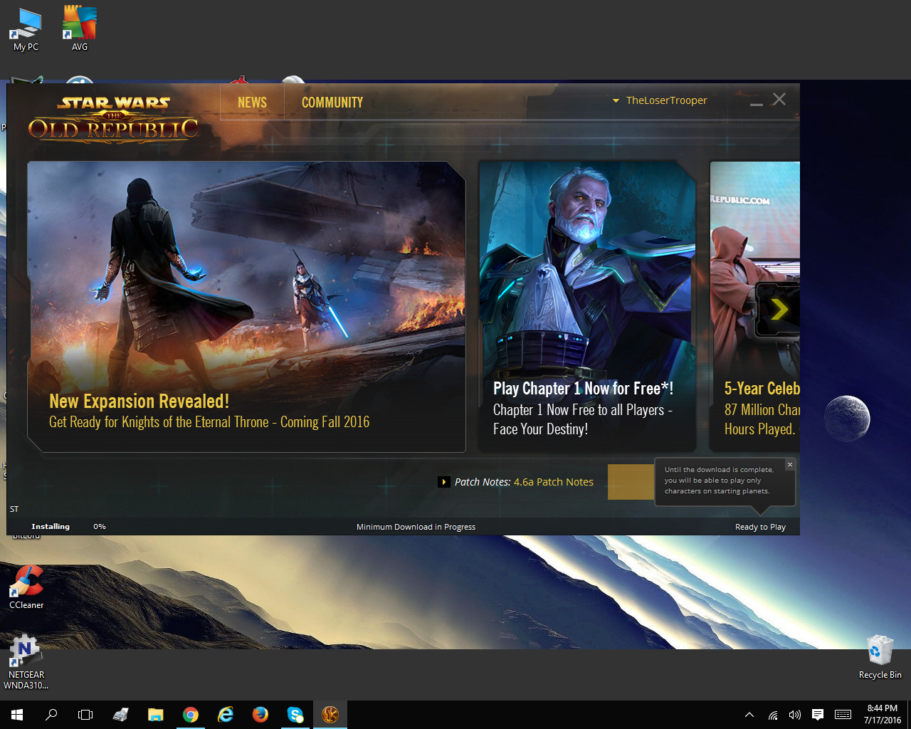 how big is the swtor download