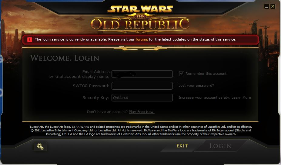 Solved: SWTOR - The login service is currently unavailable