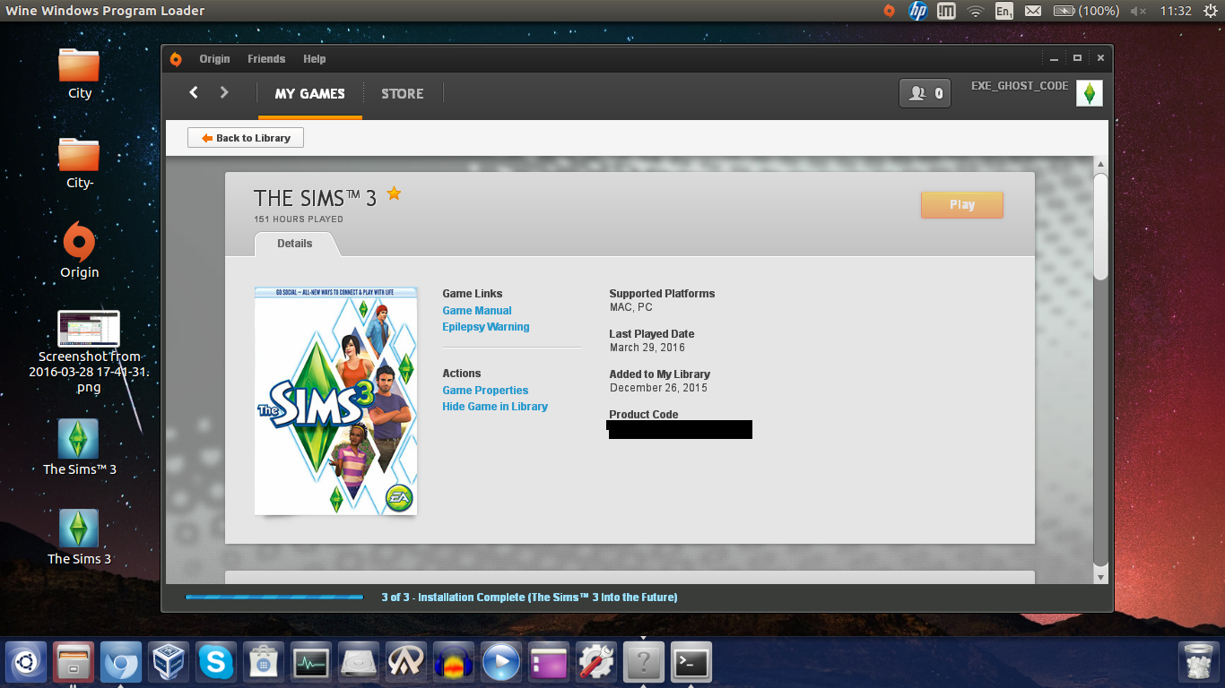 Running the Sims 3 in Ubuntu/Linux using Wine (a k a Wine is