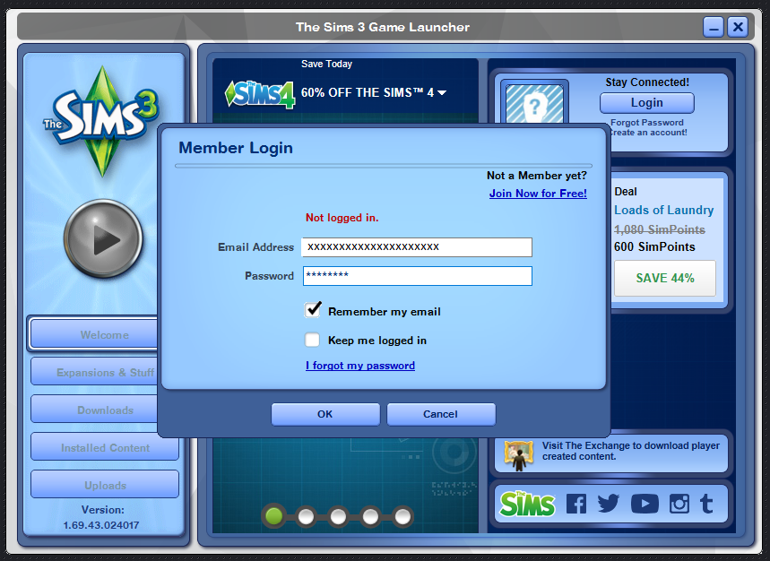 sims 3 wont let me register my game