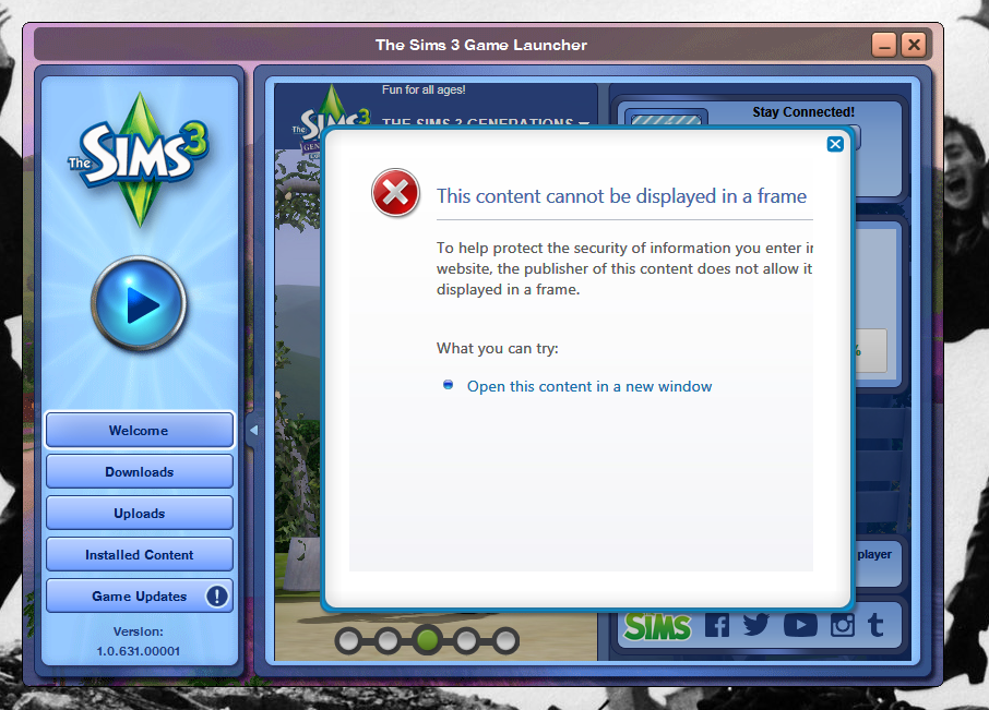 solved the sims 3 won 39 t let me log in and the welcome page is being weird page 3 answer hq. Black Bedroom Furniture Sets. Home Design Ideas