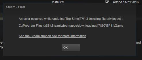 Steam Issue: Missing File Privileges - Answer HQ