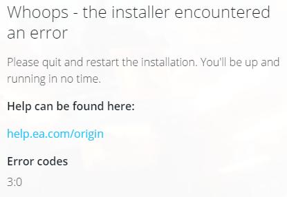 Origin won\u0027t install (error code 3:0) - Answer HQ