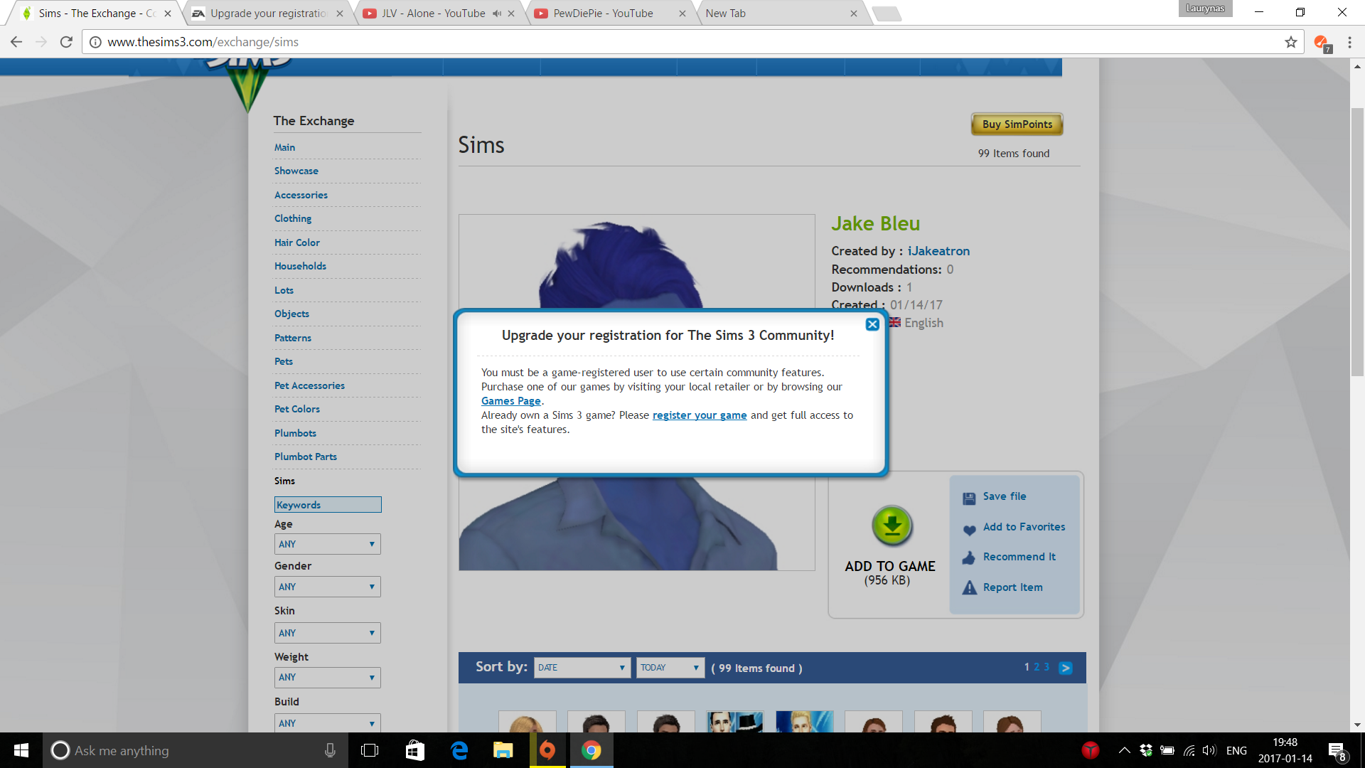 Upgrade your registration for The Sims 3 Community! problem