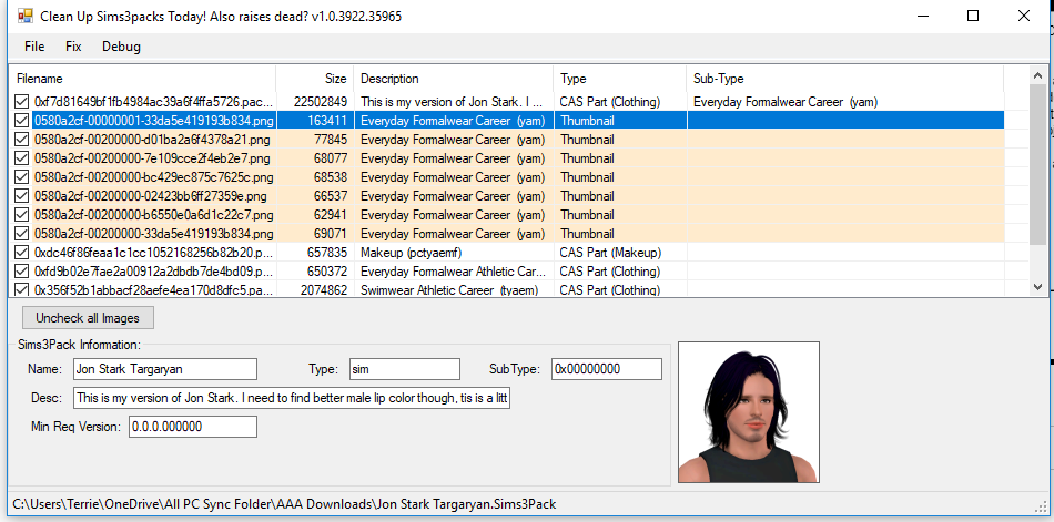 Sim exporting with subtype of hair, earrings etc - Answer HQ