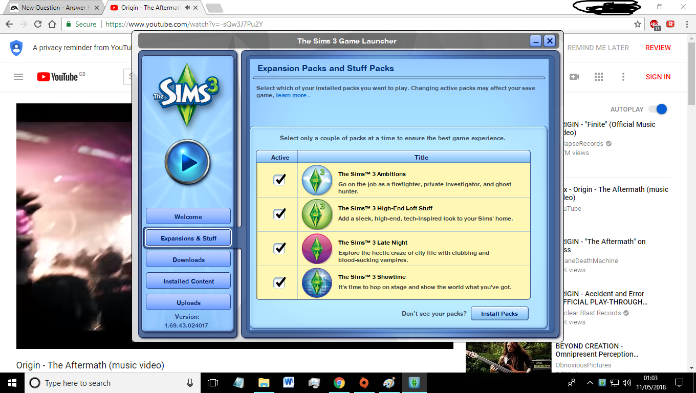 Sims 3 expansions installed but not showing in launcher