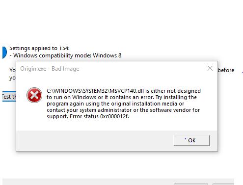 msvcp140 dll error not designed to run on windows