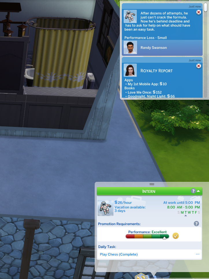 Sims 4 BG Astronaut job A3-after 2nd day lost job perf.png
