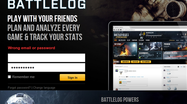 battlefield 3 wrong email or password