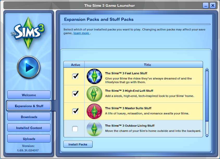 The Sims™ 3 Expansion and Stuff Pack Manager - Answer HQ