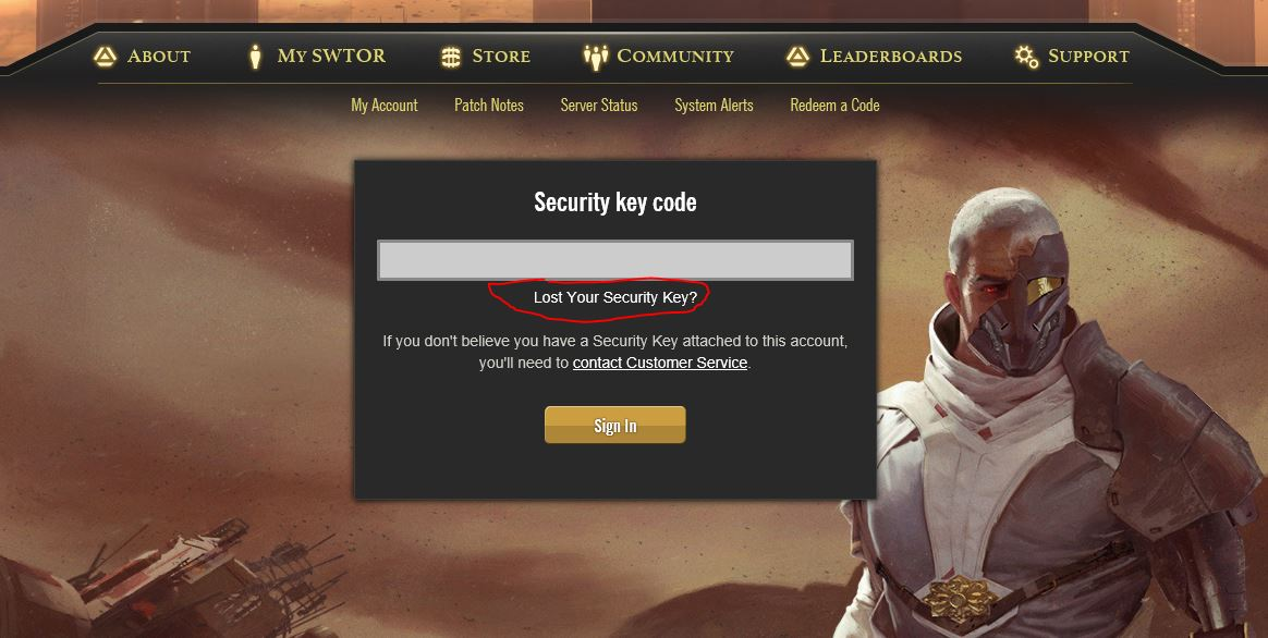 swtor security key activation code