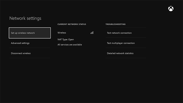 Xbox One Network Setup Wireless