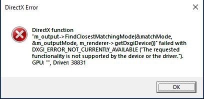 DirectX Error - Answer HQ