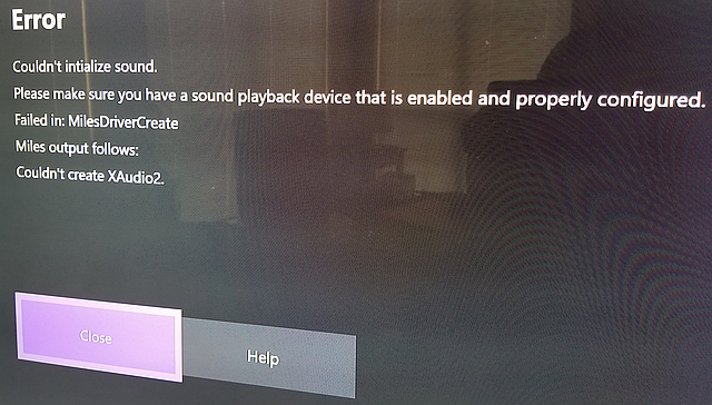 Re: [XB1] Couldn't initialize sound  MilesDriverCreate