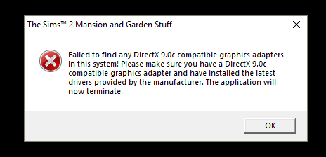 FAILED TO FIND ANY DIRECTX 9 0C