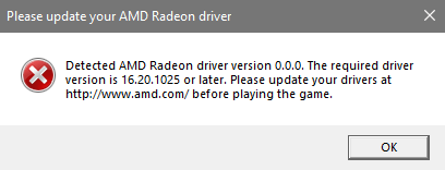 Solved: Detected AMD Radeon driver version 0 0 0  - Answer HQ