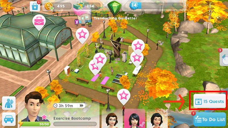 Quests button Sims Mobile